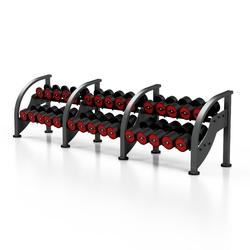 Zestaw hantli stalowych gumowanych 5-40 kg czerwony połysk ze stojakiem mf-s002 - marbo sport