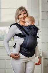 JEANS - Moje pierwsze nosidełko ergonomiczne, tkanina skośnokrzyżowa 100 bawełna, baby size, druga generacja