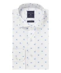 Biała koszula profuomo typu oxford w kwiaty 44