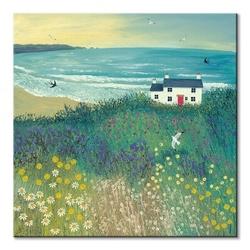 Cottage by ocean meadow - obraz na płótnie