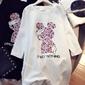 Biała luźna bluzka z różową myszką miki i napisem