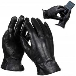 Męskie skórzane rękawiczki dotykowe ocieplane polarkiem r.m - rkw7-m