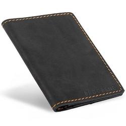 Skórzany cienki portfel slim wallet z miejscem na monety brodrene sw08 czarny - czarny