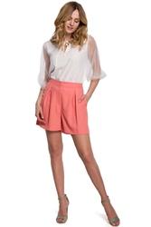 Eleganckie krótkie spodnie z wysokim stanem - pomarańczowa