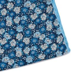 Granatowa jedwabna poszetka w kwiaty z błękitną obwódką