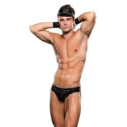 Erotyczna bielizna męska motocyklista - envy biker bikini bottomcuff hat 3 pc ml