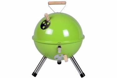 Grill ogrodowy węglowy okrągły, mini grill bbq kolor zielony