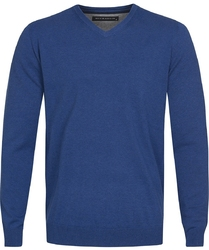 Niebieski sweter  pulower v-neck z bawełny  s