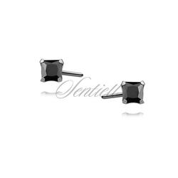 Srebrne kolczyki pr.925 cyrkonia czarna 3 x 3mm kwadratowe