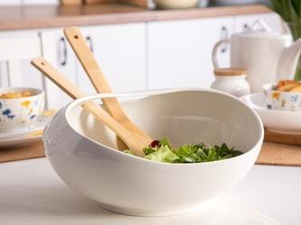 Salaterka  miska do sałatek z łyżkami bambusowymi porcelana altom design regular 30,5 x 30,5 x14,5 cm