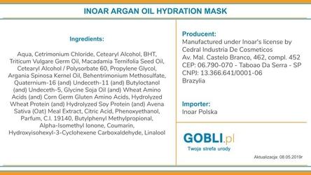 Inoar argan oil maska pielęgnująca włosy suche i puszące się 250ml