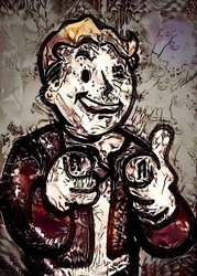 Legends of bedlam - vault boy, fallout - plakat wymiar do wyboru: 21x29,7 cm