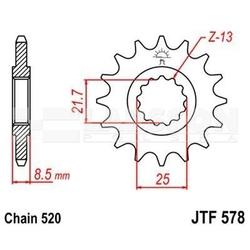 Zębatka przednia jt f578-16, 16z, rozmiar 520 2200021 yamaha xtz 750