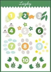 Liczby dinozaury - plakat wymiar do wyboru: 59,4x84,1 cm
