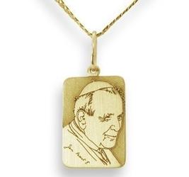 Medalik z żółtego złota z błogosławiony jan paweł ii, wec-z-jp-ii-5-1 - ok. 17 mm x 8,8 mm