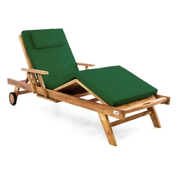 Leżak ogrodowy z półką z drewna teakowego zielony