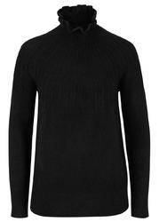Sweter w ozdobny wzór w prążek bonprix czarny