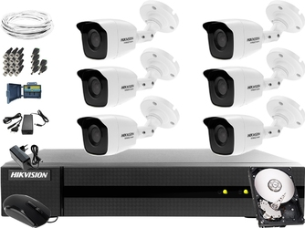 Kompletny zestaw do monitoringu firmy, parkingu hikvision hiwatch turbo hd, ahd, cvi hwd-6108mh-g2, 6 x hwt-b140-m, 1tb, akcesoria