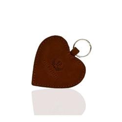 Elegancki brelok do kluczy ze skóry naturalnej w kształcie serca brązowy