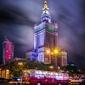 Warszawa pałac kultury z ikarusem - plakat premium wymiar do wyboru: 40x50 cm