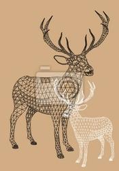 Plakat christmas reniferów z geometrycznym wzorem, wektor