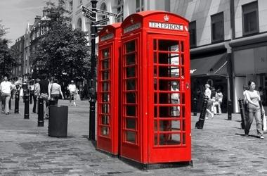 Czerwona budka, londyn - fototapeta