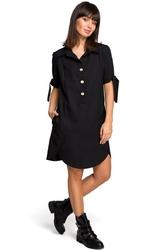 Czarna koszulowa sukienka tunika z wiązaniem na rękawach