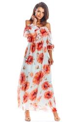 Długa Sukienka w Czerwone Kwiaty
