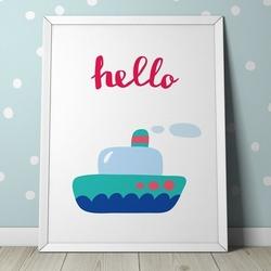 Hello - plakat dla dzieci , wymiary - 30cm x 40cm, kolor ramki - biały