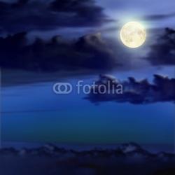 Naklejka samoprzylepna księżyc w pełni i chmury
