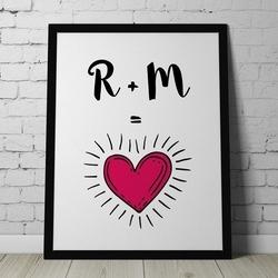 Miłosne inicjały - personalizowany plakat dla pary , wymiary - 50cm x 70cm, kolor ramki - czarny