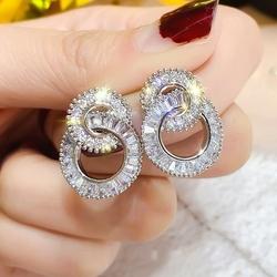 Kolczyki małe kółka posrebrzane kryształy cyrkonie