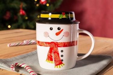 Kubek porcelanowy świąteczny dla dzieci  na prezent altom design uśmiechnięty bałwanek z pokrywką 330 ml