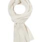 Elegancki biały szal w prążek z wełny i kaszmiru