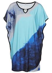 Tunika shirtowa bonprix ciemnoniebieski z nadrukiem