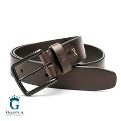 Brązowy pasek skórzany do spodni casual jeans miguel bellido 4690-40-5608-30