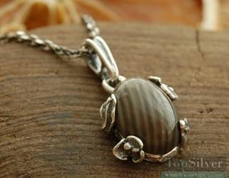 Chieti - srebrny wisiorek z krzemieniem pasiastym