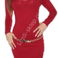Czerwona sukienka  tunika swetrowa z łańcuszkowym dekoltem 8039