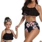 Bikini mama córka w kwiaty, czarne z falbanami 5164