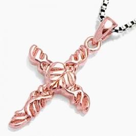 Rosemary srebrny wisiorek, krzyżyk, różowe złoto