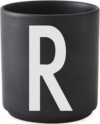 Kubek porcelanowy AJ czarny litera R