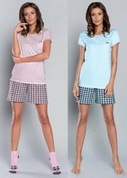 If devi krótki rękaw i spodnie niebieskidruk piżama damska