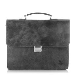 Skórzana torba teczka męska vintage paolo peruzzi s-04 szara - szary
