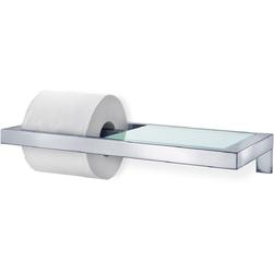 Uchwyt na papier toaletowy ze szklaną półką blomus menoto stal matowa b68831