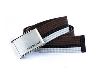 Pasek męski do spodni parciany brodrene p11s brązowo-czarno-biały - brązowy  czarny  biały