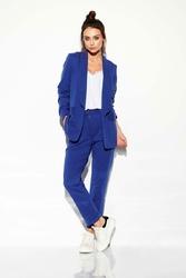 Tkaninowe Granatowe Spodnie Basic o Zwężanej Nogawce