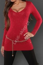 Czerwona dzianinowa tunika z dżetami, 8052