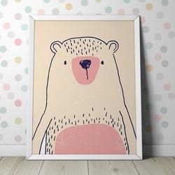 Różowy miś - plakat dziecięcy , wymiary - 40cm x 50cm, ramka - biała