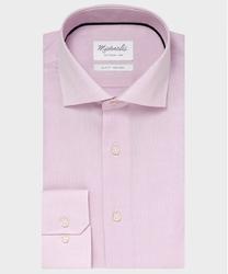Elegancka różowa koszula ze splotem oxford michaelis z kołnierzem włoskim 41