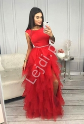 Długa sukienka tiulowa w kolorze czerwonym sandra